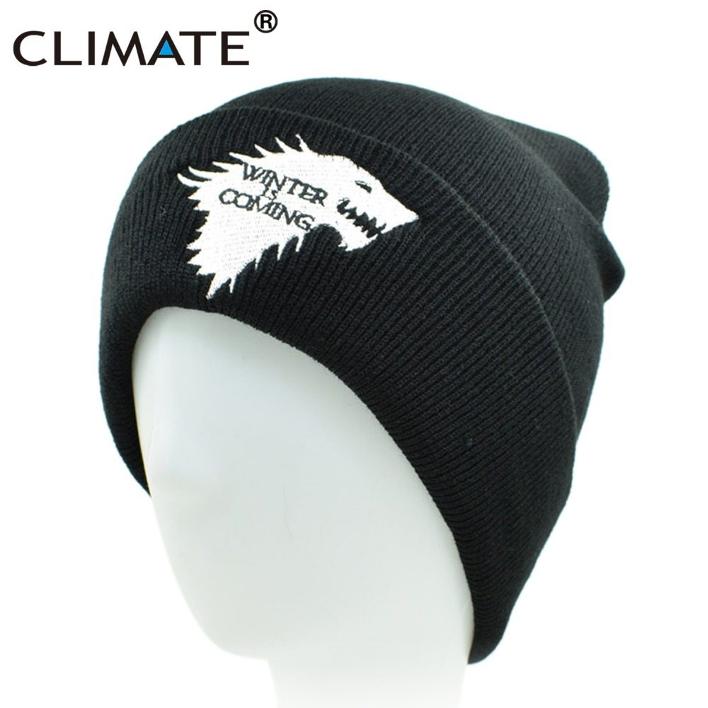 0440d26740303 CLIMATE Game Of Thrones Warm Knitted Beanie Skullies House Of Stark Winter  is Coming Dire Wolf Hat For Adult Men Women Teenager