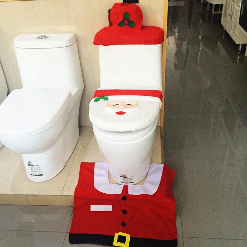 Christmas Santa Claus Toilet Set Of 3 Toilet Seat Cover