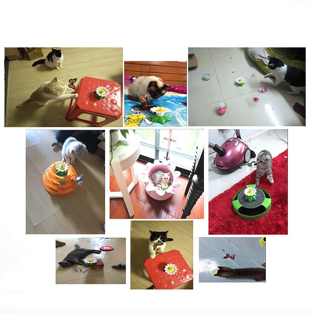 Kitten Electric Rotating Butterfly Bird Rod Wire Cat Toy Pattern Random