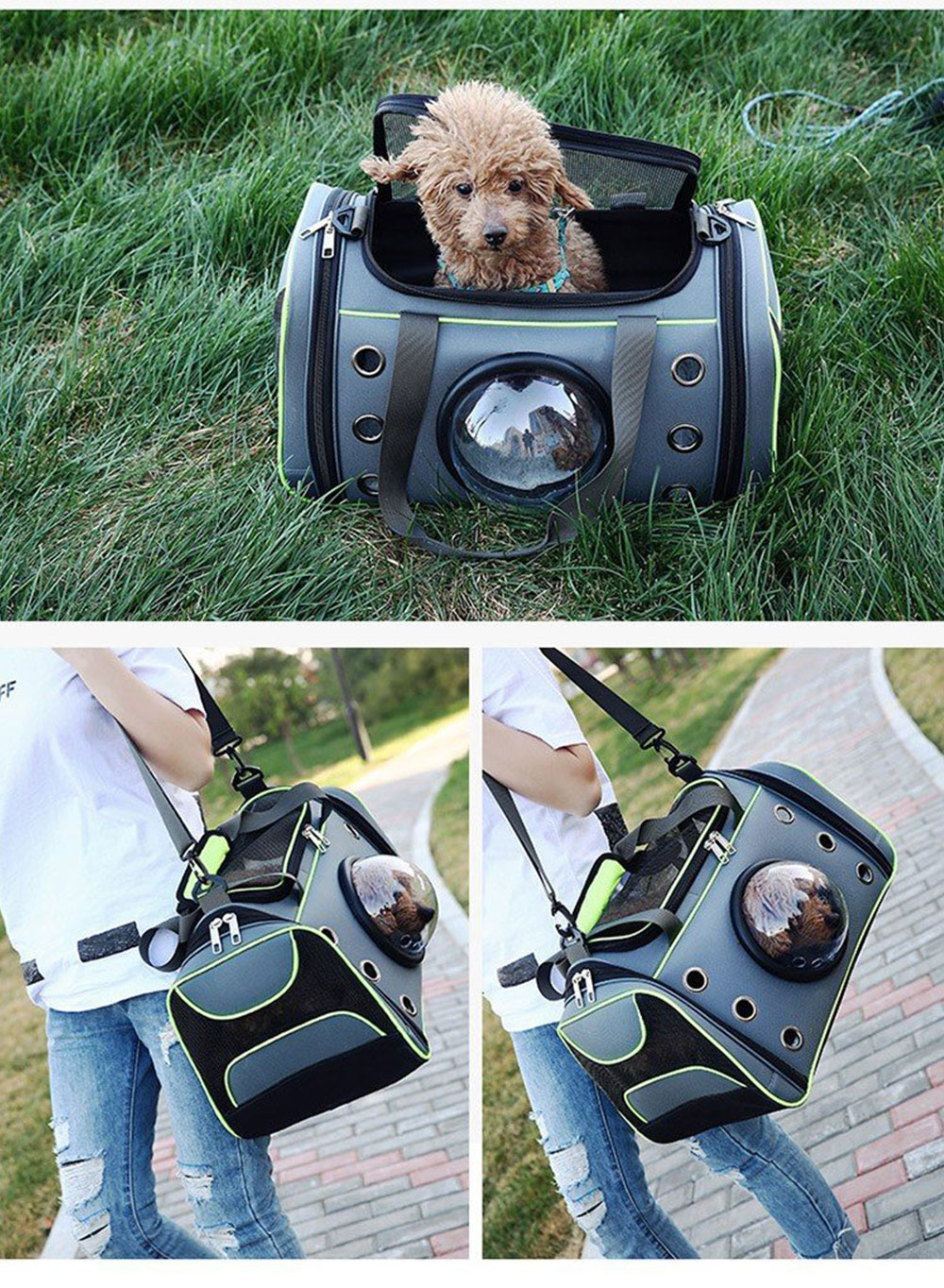 Dog Cat Carrier Space Capsule Shape Breathable Handbag