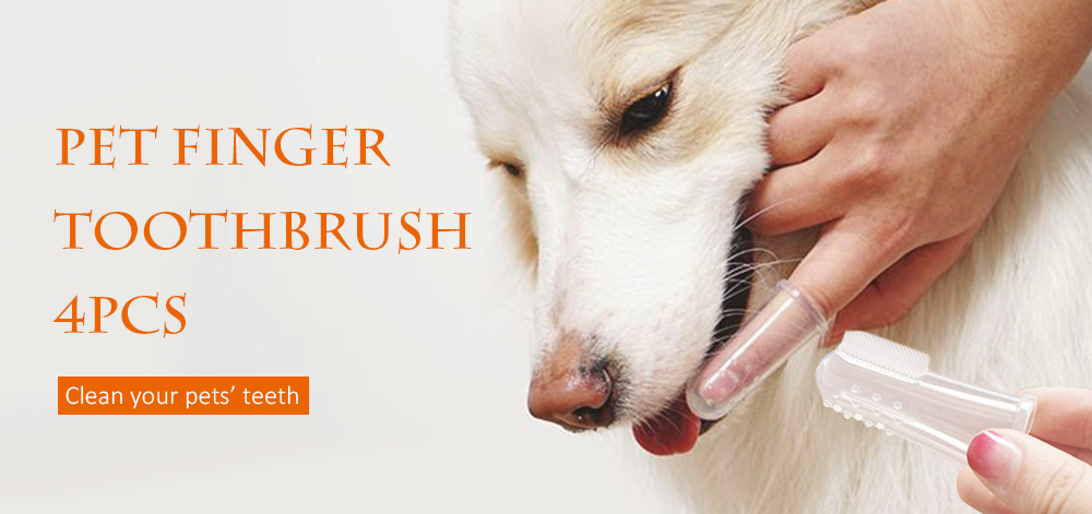 Soft Pet Finger Toothbrush Clean Dog Brush Tool with Massage Tip 4PCS