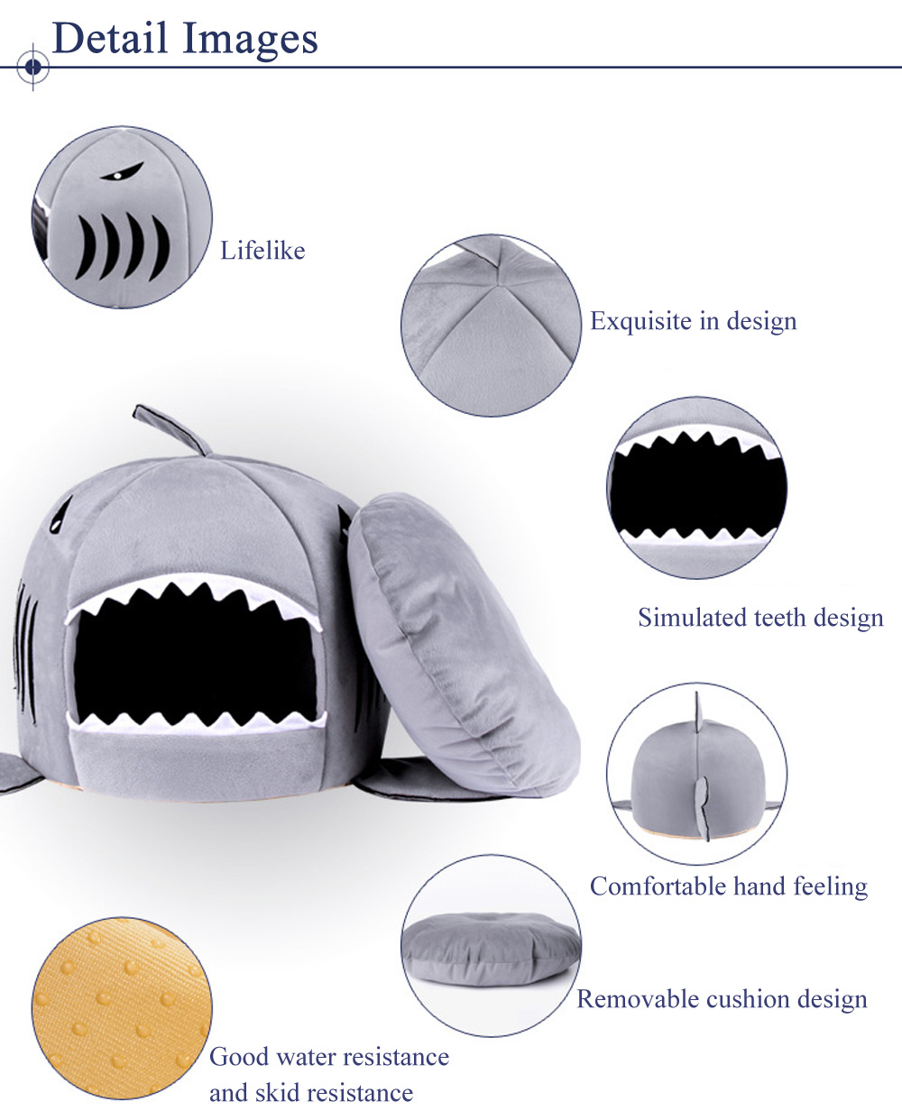 Lovely Soft Shark Mouth Shape Doghouse Pet Kennel with Cushion