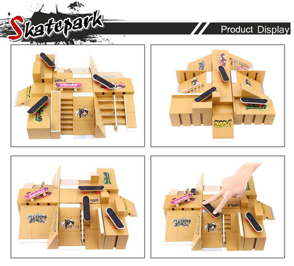 11pcs Skate Park Kit Ramp Parts for Tech Deck Fingerboard