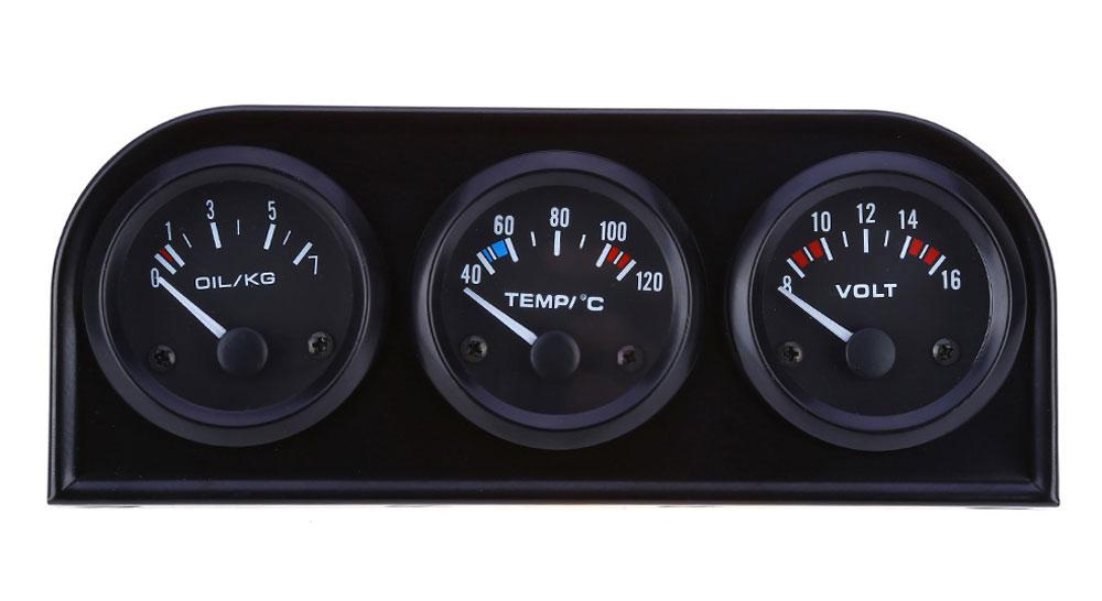 B734 52MM 3 in 1 Car Auto Gauge Voltmeter Water Temperature Oil Pressure Sensor Triple Kit
