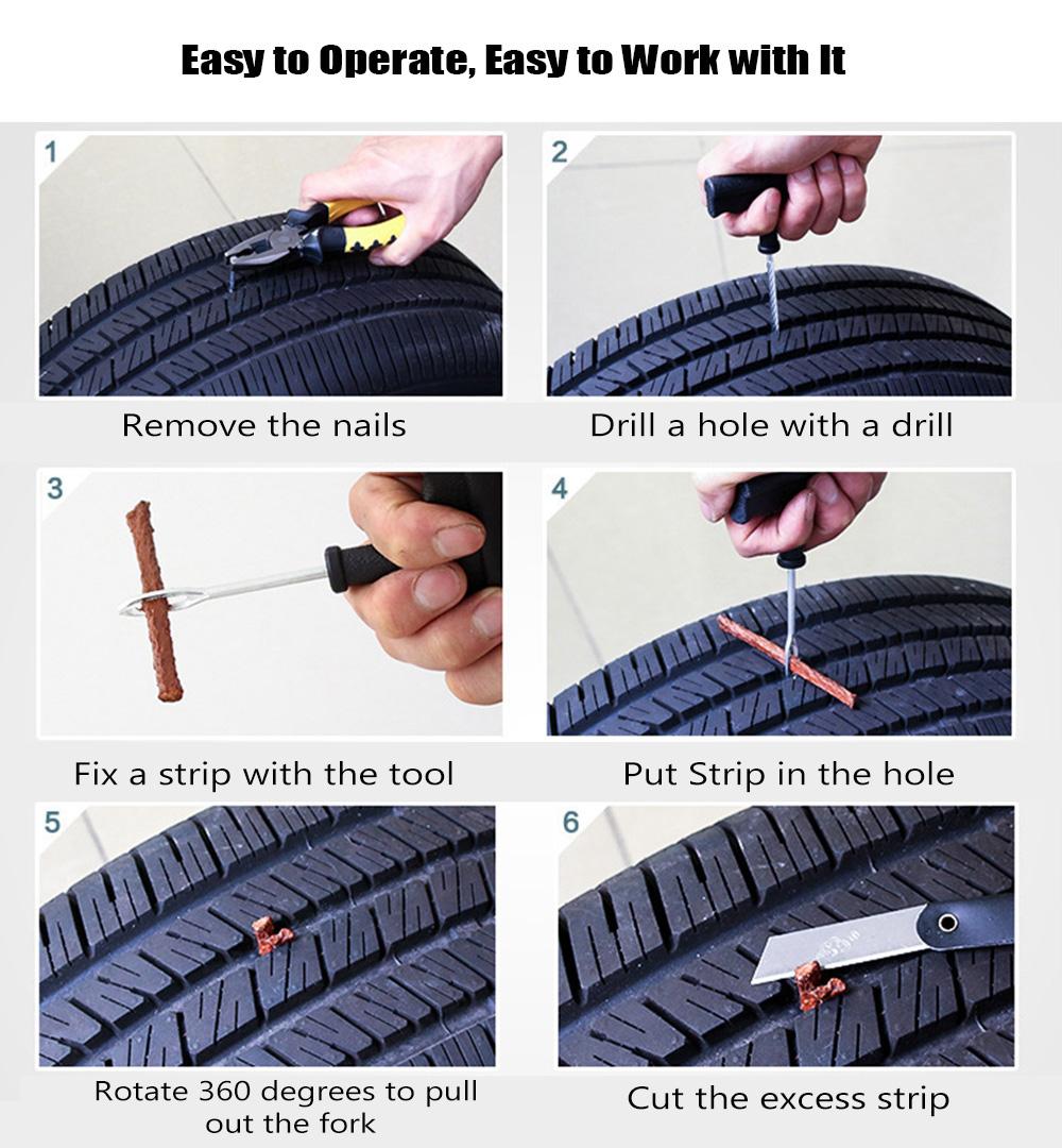 ZIQIAO Car Truck Motobike Tire Repair Emergency Tool Kit